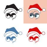 Santa Claus-het stickerkwaad kijkt weg Emoties Vectorreeks royalty-vrije illustratie