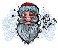 Santa Claus heureuse font face sur le fond blanc avec le gland Images libres de droits