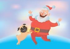 Santa Claus heureuse jouant avec le chien Nouvelle année et cartes de Noël pendant l'année du chien selon le calendrier oriental illustration stock