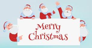 Santa Claus heureuse regardant par derrière une feuille blanche Calibre pour la conception de Noël et de nouvelle année Positionn illustration de vecteur