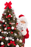 Santa Claus hiding behind a Christmas tree Royalty Free Stock Images