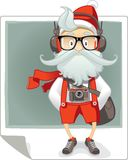 Santa Claus Hipster Style Cartoon Arkivbild