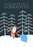 Vector Christmas card with Santa Claus. Santa Claus with his bag in the night forest. Vector illustration Stock Photos