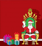 Santa Claus in his chair with presents Vector Stock Photo