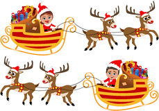 Santa Claus in his Christmas Sled or Sleigh Stock Photos