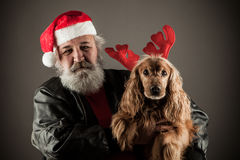 Santa Claus  with his dog  as Rudolph Stock Images