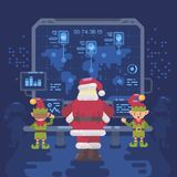 Santa Claus and his elves at Santa`s control room. Looking at a big screen with interactive map of naughty and nice children around the world. Christmas flat Royalty Free Stock Photos