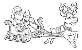 Santa Claus Christmas Fling Sleigh Sled Reindee. Santa Claus and his flying Christmas sleigh sled and reindeer Royalty Free Stock Photos