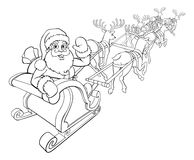 Santa Claus and Reindeer Christmas Sleigh Sled. Santa Claus and his flying sleigh sled and Christmas reindeer Royalty Free Stock Photography