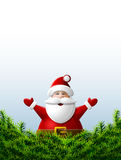 Santa Claus with his hands up is behind pine branches Stock Images