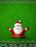 Santa Claus with his hands up on knitted background Stock Photos