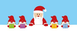 Santa claus and his helper gnome with gifts christmas cartoon vector illustration