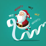 Santa Claus with his naughty and nice list Royalty Free Stock Image
