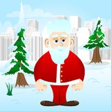 Santa Claus in his red clothes with white beard standing. royalty free illustration