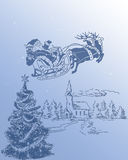 Santa Claus and his Reindeer 2. Santa Claus is flying in his sleigh and his reindeer in the night Royalty Free Stock Photo