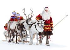 Santa Claus And His Reindeer Fotografia Stock Libera da Diritti