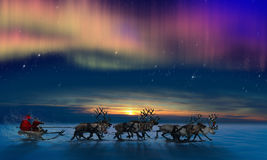 Santa Claus And His Reindeer Lizenzfreies Stockfoto