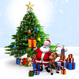 Santa Claus with his reindeer and gifts Stock Image