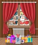 Santa claus and his reindeer looks in room window. vector illustration