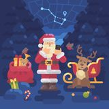 Santa Claus and his reindeer lost their way in the forest. And Santa is trying to find their location with GPS on his smartphone. Christmas flat illustration Royalty Free Stock Photos