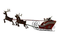 Santa Claus and his reindeers. Santa Claus is flying with his reindeer - isolated on white Stock Photos