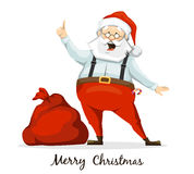 Santa Claus and his sack of presents. Santa Claus raised his finger up and shares his brilliant idea. sack of presents Stock Photos