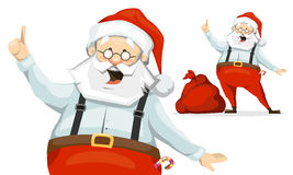 Santa Claus and his sack of presents. Santa Claus raised his finger up and shares his brilliant idea. sack of presents Royalty Free Stock Images