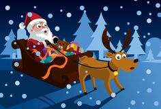 Santa Claus And His Sleigh. An image of Santa Claus sitting in his sleigh full of gifts and presents while holding on to the reins of the reindeer Stock Photography