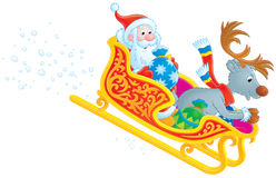 Santa Claus on his sleigh royalty free illustration
