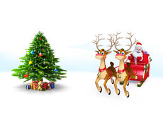 Santa Claus with his sleigh Royalty Free Stock Image
