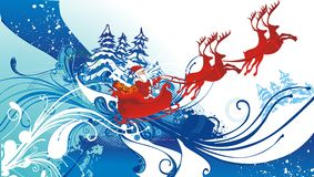 Santa claus and his sleigh flying. Floral background Stock Photo