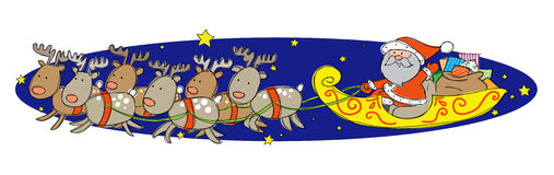 Santa Claus on his Sleigh. Hand drawn picture of Santa Claus on his Sleigh with his reindeer. Illustrated in a loose style. Vector eps available Stock Photo