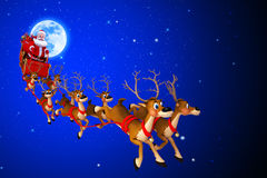Santa claus with his sleigh and moon on blue Royalty Free Stock Photo