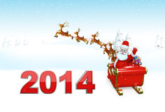 Santa Claus with his sleigh and new year text Royalty Free Stock Images