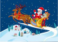Santa Claus with his sleigh. Pulled by reindeer Royalty Free Stock Photography