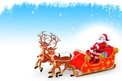 Santa claus in his sleigh with two deer Stock Images