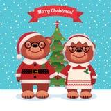 Santa Claus and his wife bears Christmas. Cartoon vector illustration of Santa Claus and his wife bears Christmas Stock Image