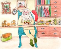 Santa Claus in his workshop. Santa in his workroom is making the toys - watercolor retro illustration Stock Photo