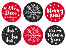 Set of 6 Cute Round Shape Christmas Vector Stickers. Simple White, Dark Gray and Red Desig. stock illustration