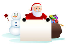 santa claus hold blank board and happy snowman Royalty Free Stock Photos
