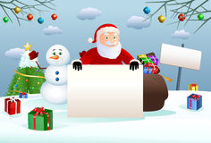 santa claus hold christmas blank board Royalty Free Stock Images