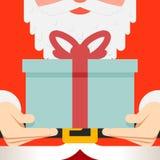 Santa Claus hold hands gift present beard belt. Greating card flat design vector illustration Stock Photography