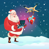 Santa Claus Hold Remove Controller Drone Delivery Present, New Year Christmas Holiday Stock Image