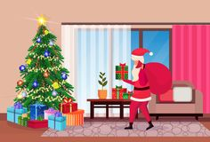 Santa claus hold sack in living room decorated merry christmas happy new year pine tree home interior decoration winter. Holiday concept flat horizontal vector royalty free illustration
