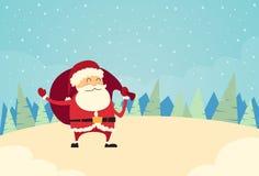 Santa Claus Hold Sack Winter Snow Forest Christmas Imágenes de archivo libres de regalías