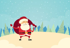 Santa Claus Hold Sack Winter Snow Forest Christmas Royalty Free Stock Images