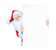 Santa Claus hold sheet of blank paper plate Stock Photos