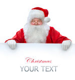 Santa Claus holding Banner. With Space for Your Text Stock Photo