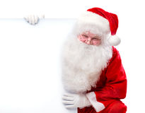 Santa Claus holding Banner. With Space for Your Text Royalty Free Stock Photo