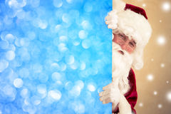 Santa Claus holding banner. Blank. Christmas holiday concept stock image
